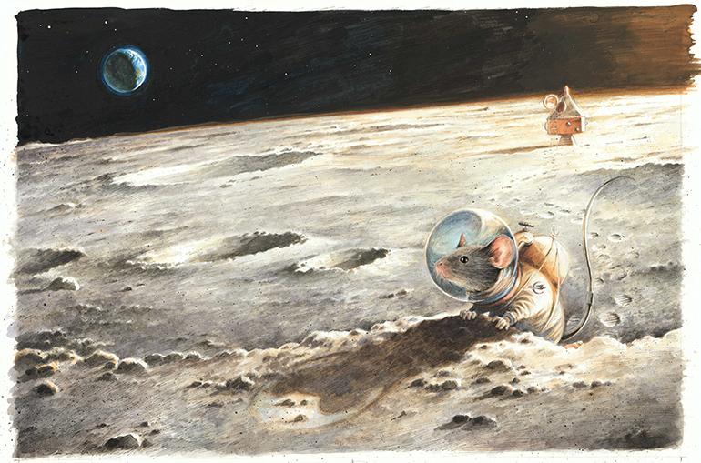 Torben Kuhlmann, Der erste Erdbewohner auf dem Mond, 2015 © Torben Kuhlmann, NordSüd Verlag AG